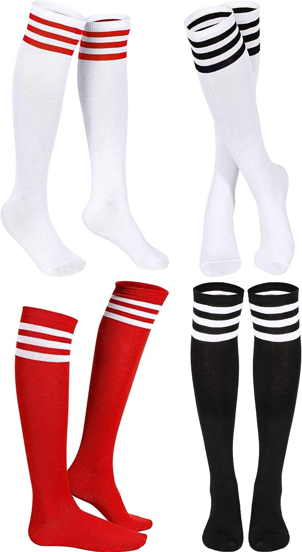 SATINIOR Triple Gestreifte Strumpf Kniestr/ümpfe Unisex Baumwolle Drei Knee Hoch Tube Socken