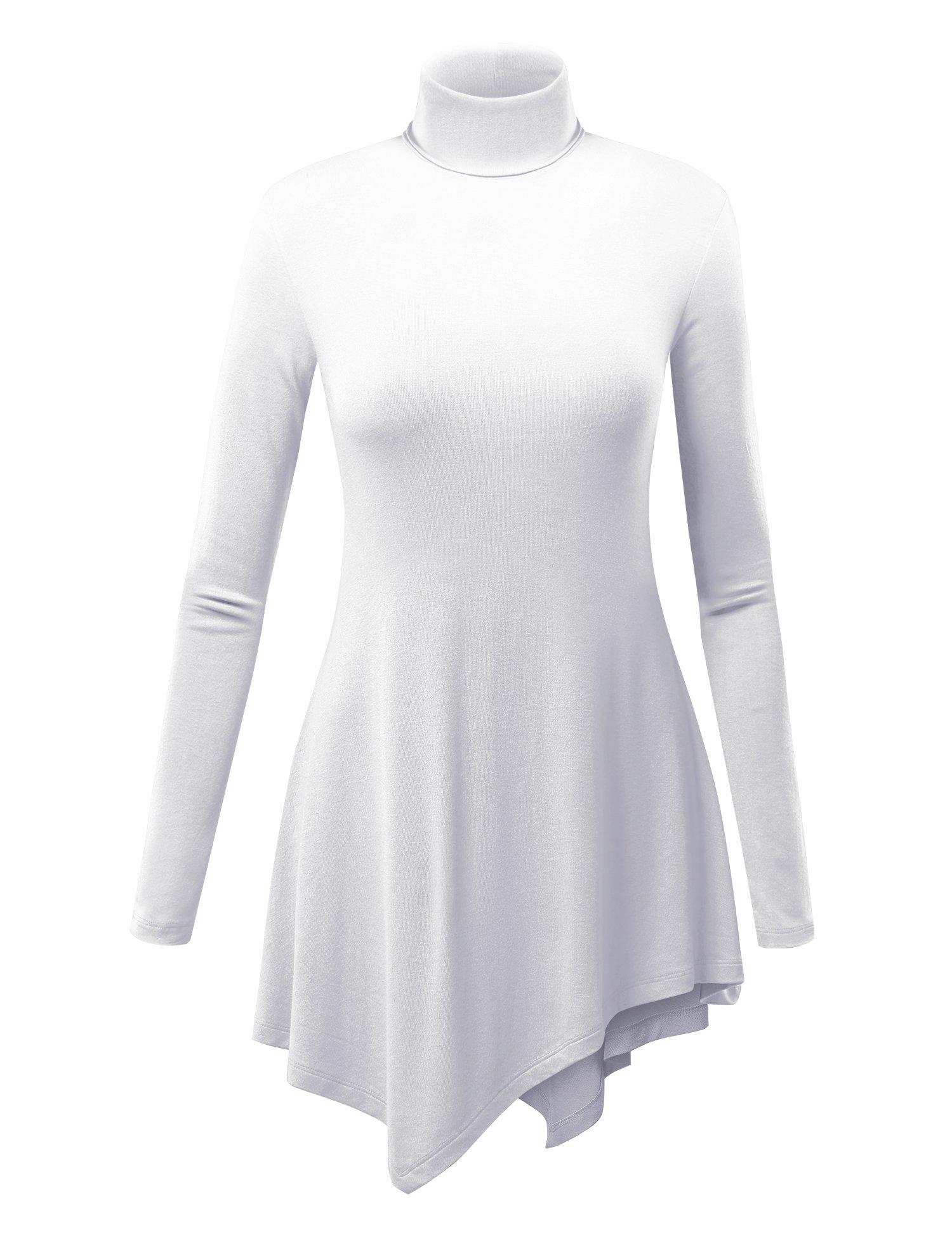 WT993 Womens Turtle Neck Long Sleeve Top With Handkerchief Hem XXL White