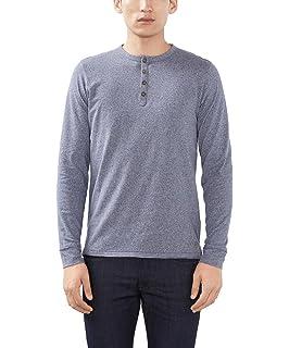 8f28e976 ESPRIT Men's 126EE2K019-Henley Long-Sleeved T-Shirt, (Dark Grey), XL ...