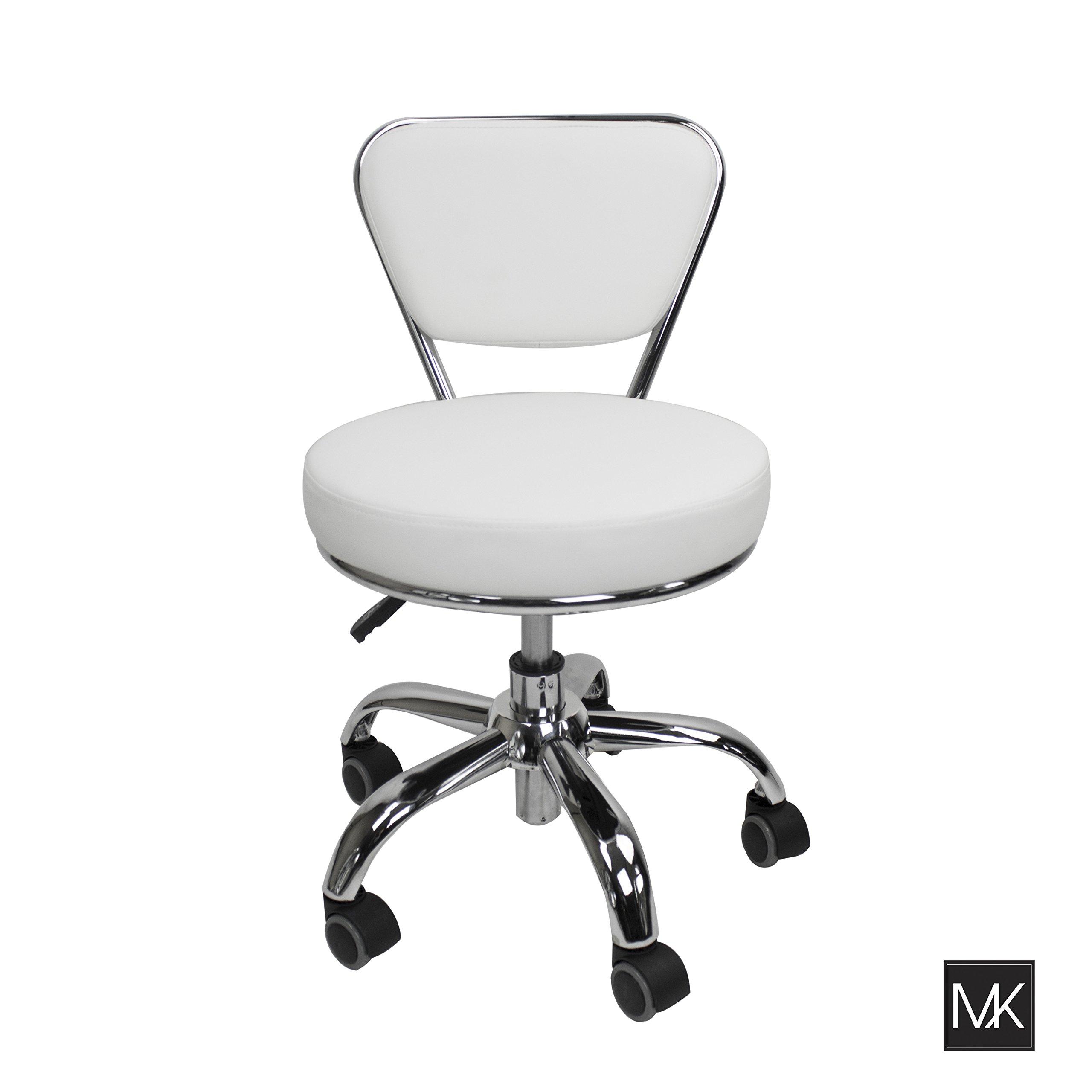 MAYAKOBA Salon Nail Pedicure Stool Pedicure Chair DAYTON WHITE Pneumatic, Adjustable, Rolling Salon Furniture & Equipment by MAYAKOBA