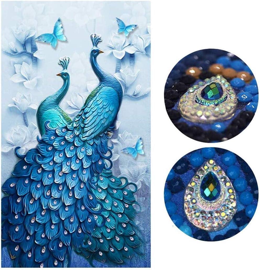 Diamond Painting Full Drill Beautiful Peacock DIY Arts Craft for Home Wall Decor (75 x 130 cm)