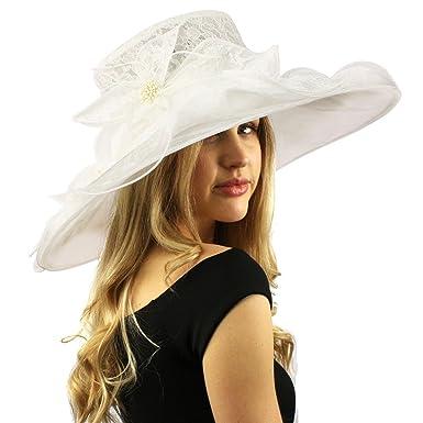 e214ec36e5989 Romantic Lace Flower Overlay Kentucky Derby Floppy Wide Brim 7 quot  Dress  Hat White