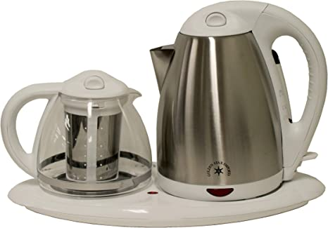 Sapphire Home 3 Piece Electric Coffee Tea Maker 360 Degree 1 7l Cordless Kettle 1 2 Clear Glass Pot Keep Warm Plate On Off Switch Stainless Steel Filter Basket White Amazon Ca Home Kitchen