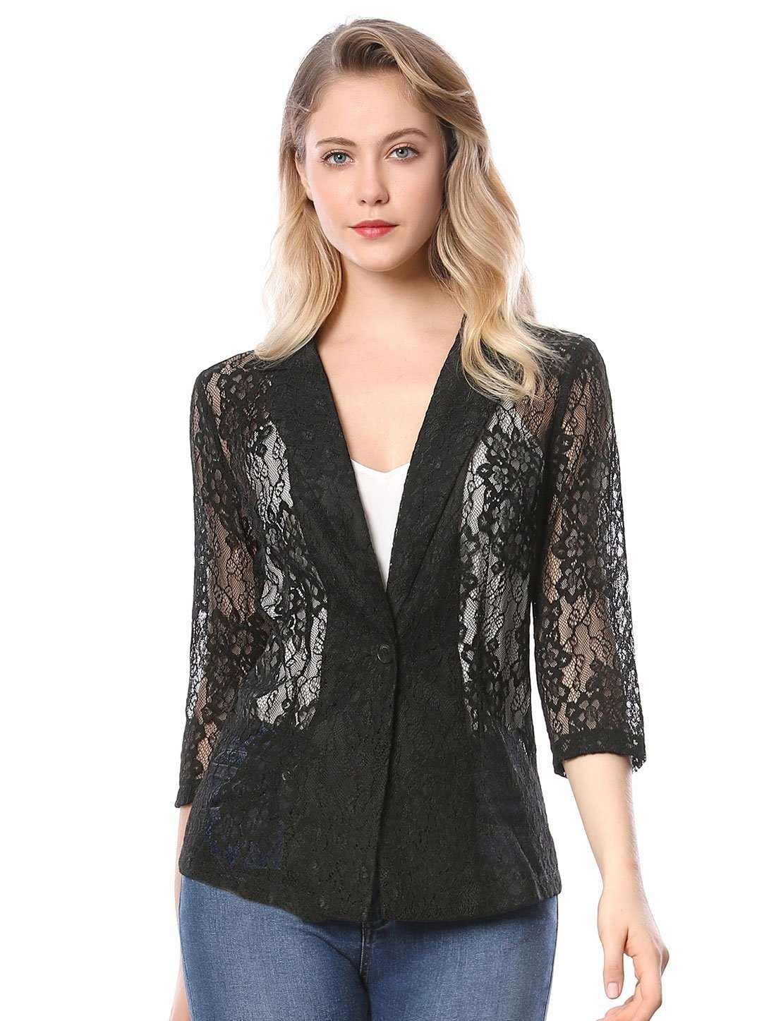 Allegra K Women's 3/4 Sleeves Notched Lapel One-Button Lace Blazer S Black