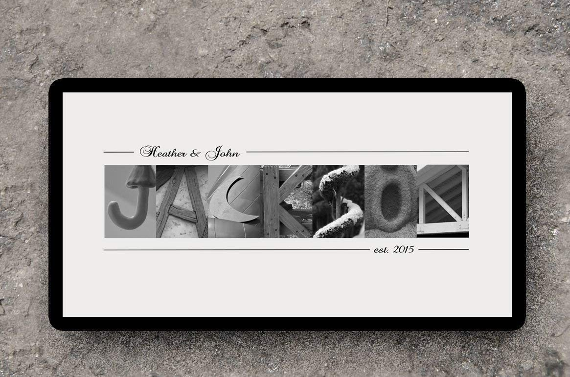 Personalised Gift Family Name Letter Black /& Grey Custom Text Quote Art Print
