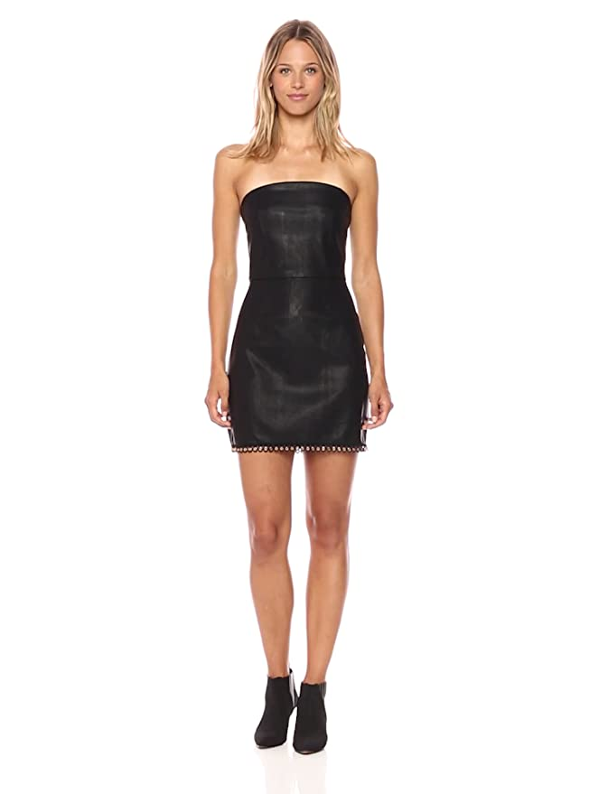 64f3575ef03 MINKPINK Women s Mon Cherie Pu Faux Leather Strapless Dress at Amazon  Women s Clothing store
