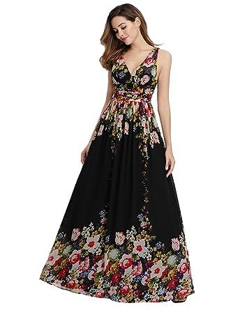 e5e68f6b346f2b Ever Pretty Damen Abendkleid A-Linie Ballkleid V Ausschnitt lang Schwarz  Und Blumen 36