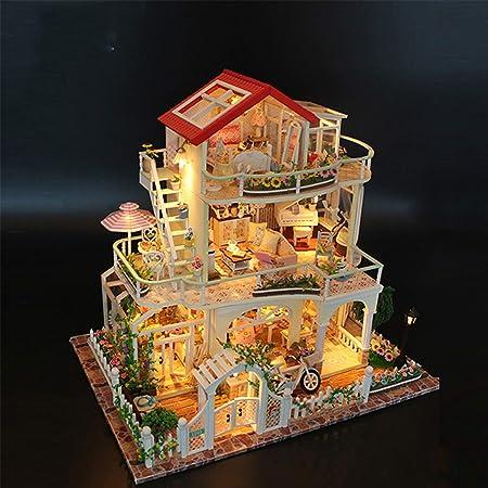 XCXDX Casa de jardín de Tres Pisos, Juguete Creativo Modelo de Regalo, Kit de Bricolaje en Miniatura, decoración del hogar: Amazon.es: Hogar