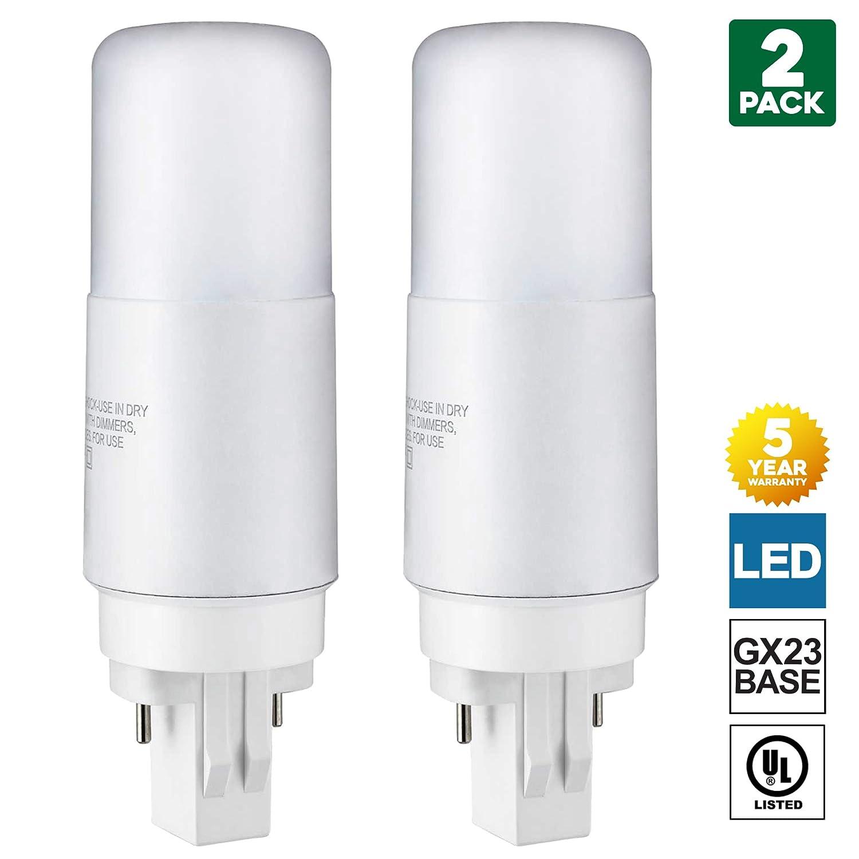 Ballast Bypass Required Cool White Full 360 Degree Illumination 2 Pack Sunlite GX23 LED Bulb 2-Pin PLV 7 Watt 13 Watt CFL Replacement 4000K