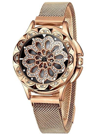 CIVO Relojes Mujer Reloj de Pulsera de Oro Rosa Señoras Magnético Cinturón de Malla Acero Inoxidable Relojes de Análogos Impermeables de la Moda para ...