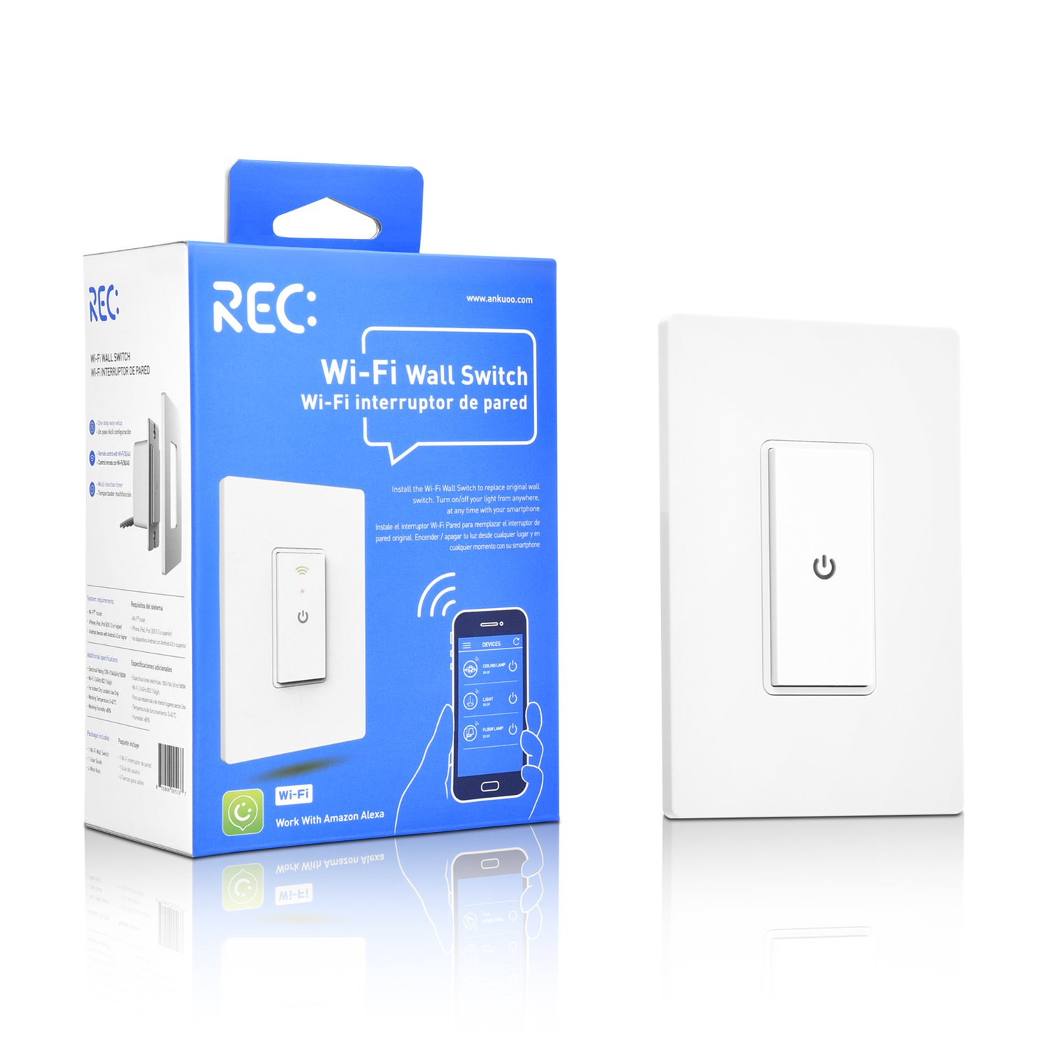 WiFi Smart Light Switch Compatible with Alexa Echo, Smartphone Remote Control Wireless Switch from Ankuoo, No Hub Required, Timer, Automatic APP Control, for Home/Office/Living Room
