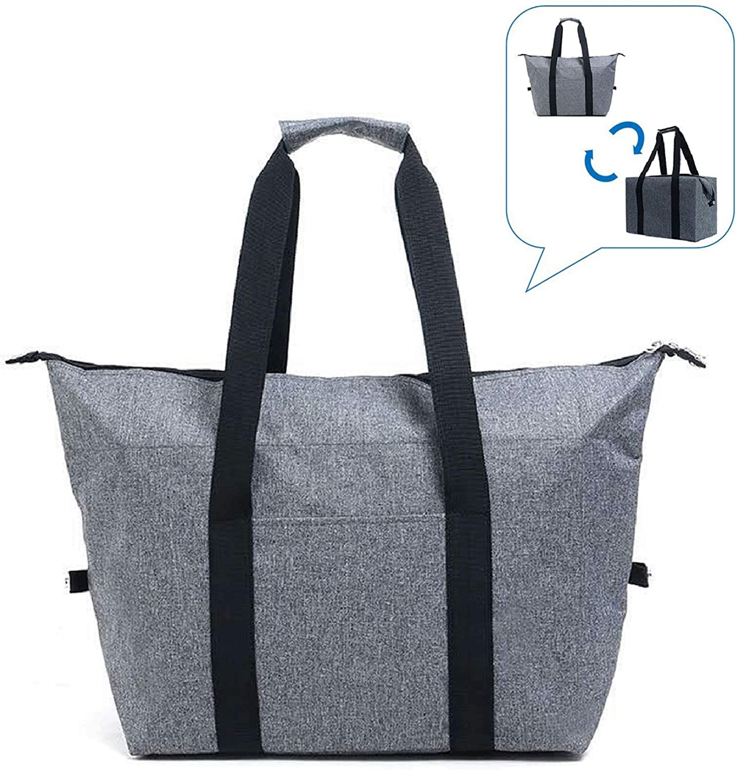 Christmas Gift,Reusable Insulated Tote Bag for Cold/Hot Foods,HAS TWO APPEARANCES,Foldable/Durable/Washable/Sturdy Zipper/Stands Upright/Reinforced Bottom and Handles,Shopping Bag for Groceries and Foods Transport