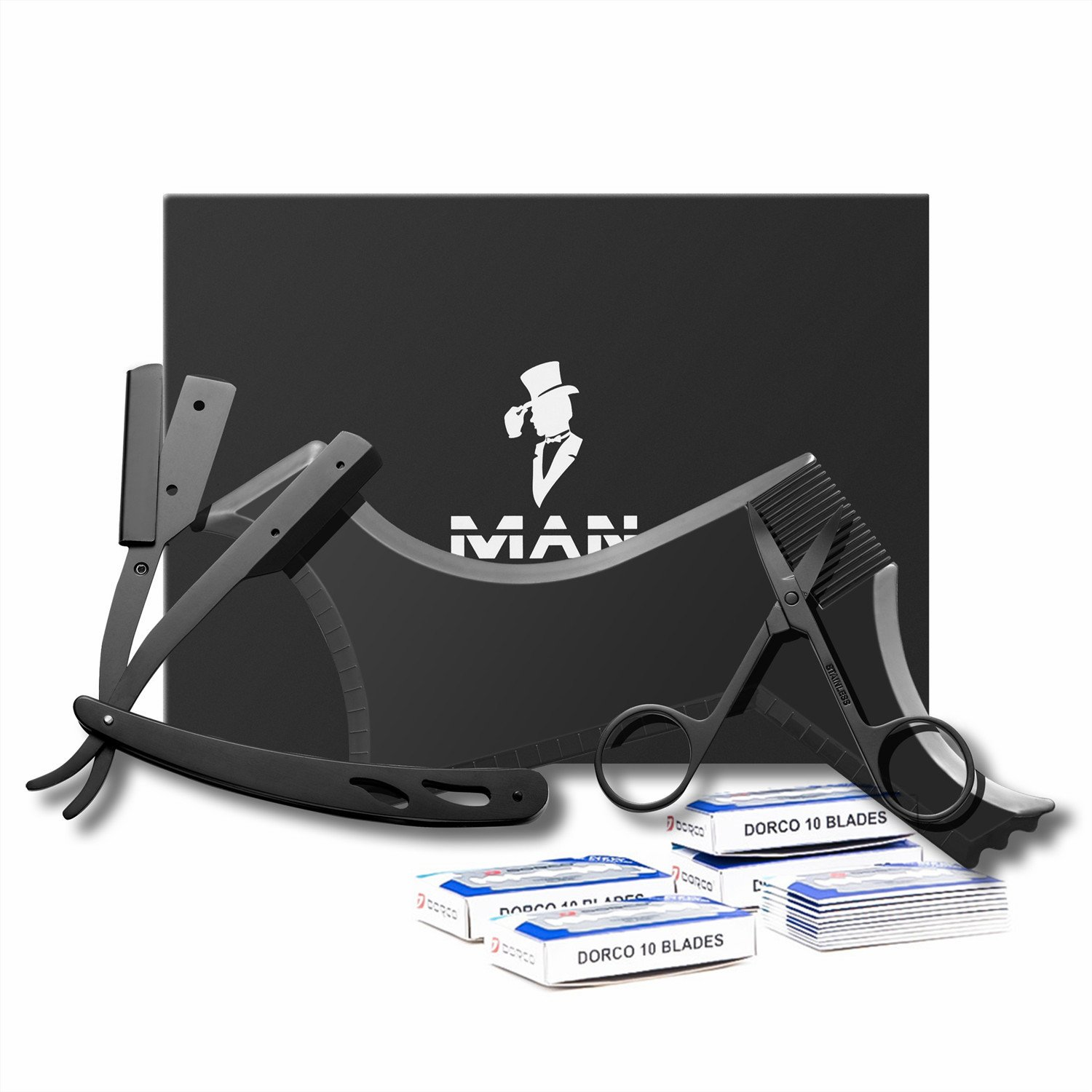 (Upgrade to add blades)Megan Beard shaping tool kit for Men include shaping comb & Professional Straight Edge Razor & 10 Count of double edge blade & Stainless steel beard scissors, Gift box packaging.