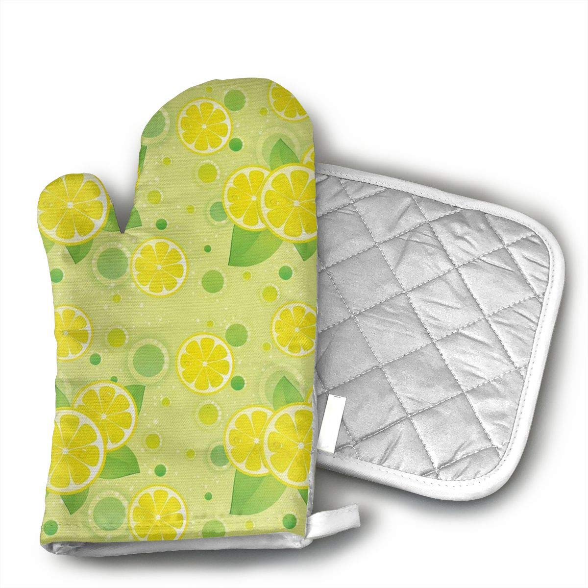 Wiqo9 Lemon Lime Pattern in Retro Vintage Oven Mitts and Pot Holders Kitchen Mitten Cooking Gloves,Cooking, Baking, BBQ.