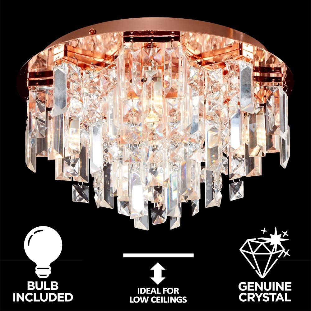 Modern Copper 5 Way Lead Crystal Jewel Diamond Effect Droplet Flush Ceiling Chandelier Fitting