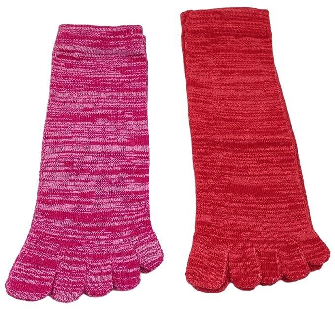 CMG zz03 X 2 pares Calcetines de cinco dedos melierte Colores antibacteriano Unisex Calcetines G1 Multicolor