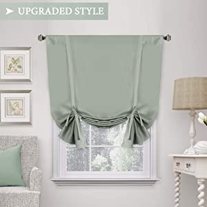 H.VERSAILTEX Solid Blackout Curtain Energy Efficient Tie Up Shades -Rod Pocket Panel for Kitchen (Sage 42W x 63L One Panel)