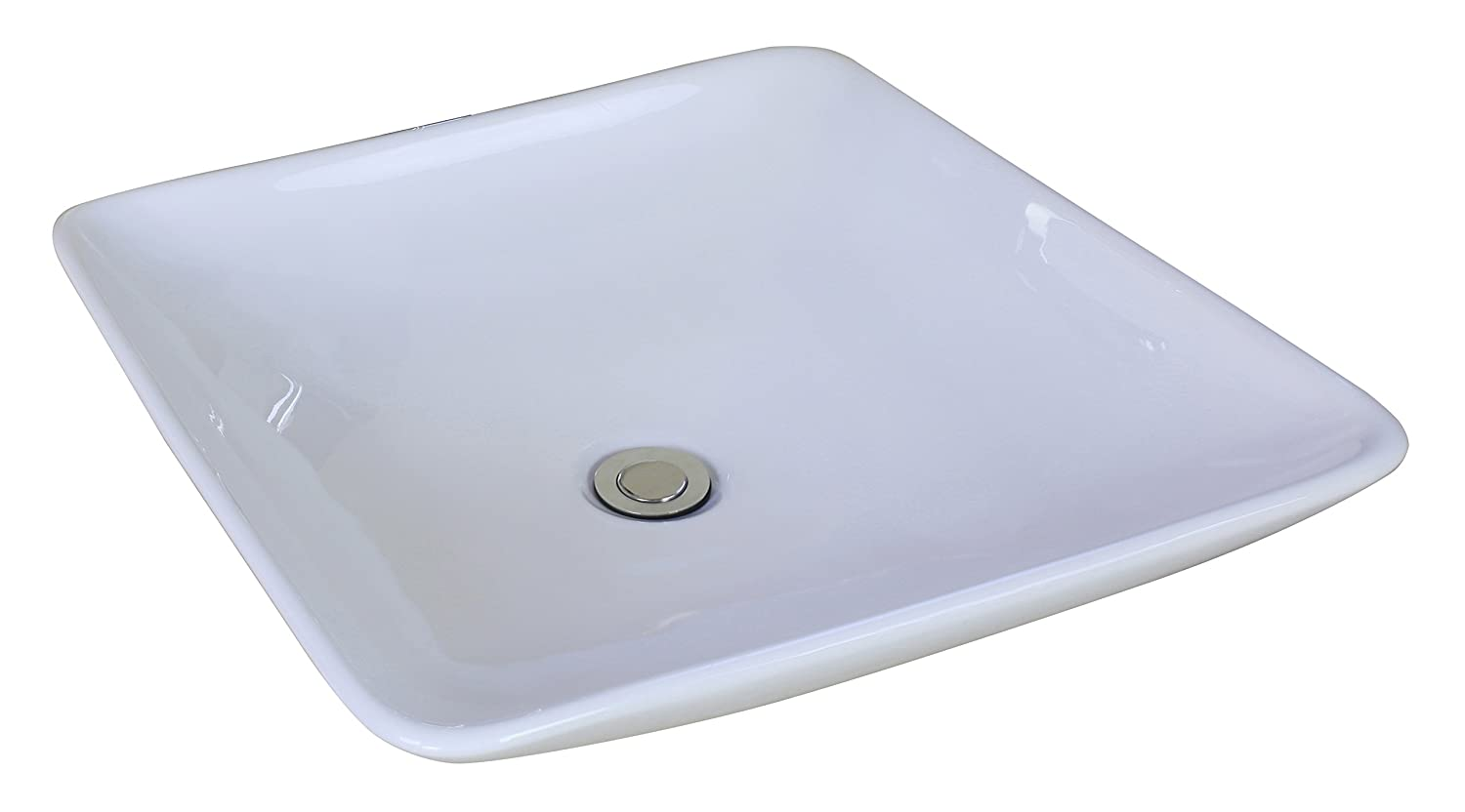 19.69-in. W x 19.69-in. D Above Counter Square Vessel In White Color For Deck Mount Faucet IMG Imports Inc. AI-1-1306
