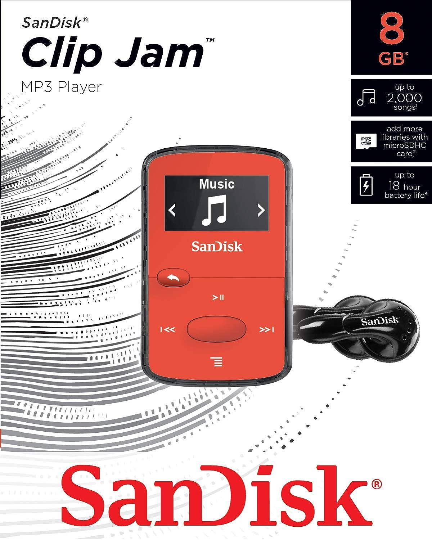 SDMX26-008G-G46G Green microSD card slot and FM Radio SanDisk 8GB Clip Jam MP3 Player