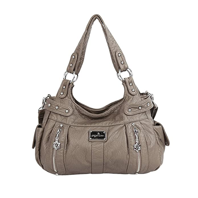 Angelkiss 2 Separated Compartments Large Capacity Purses and Handbags Soft Leather Shoulder Bags AK19244/2 (grey)