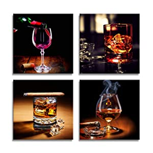 Kitchen Decorations Coffee Decor Wine Cup Cigar Pictures Canvas Art Home Decor Framed Art Ready to Hang - 4 Panels Modern Artwork for Walls Painting Canvas Pictures for Dining Room Kitchen Wall Decor