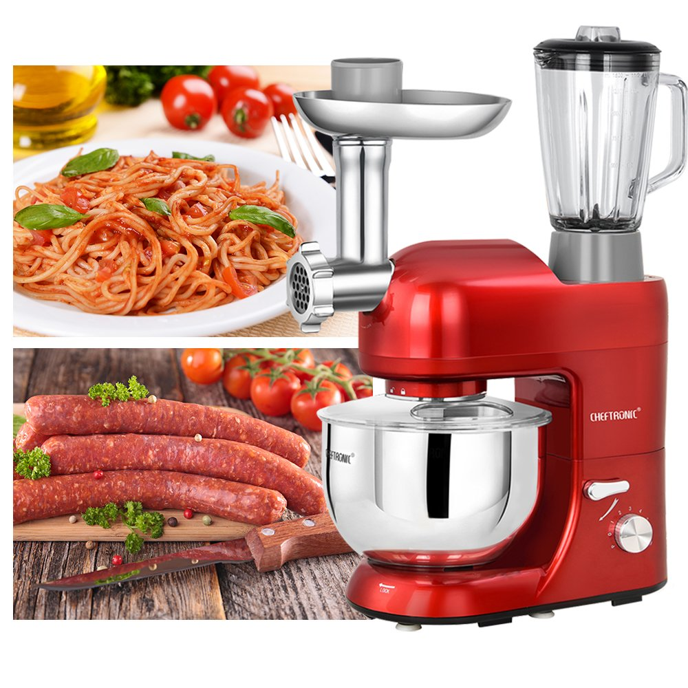 CHEFTRONIC Stand Mixer Tilt-Head 120V/650W Electric Stand Mixer with 5.5QT Stainless Bowl, 6 Speed Multifunctional Kitchen Mixer, Meat grinder, Sausage stuffer, pasta dies and Juice Blender by CHEFTRONIC (Image #6)