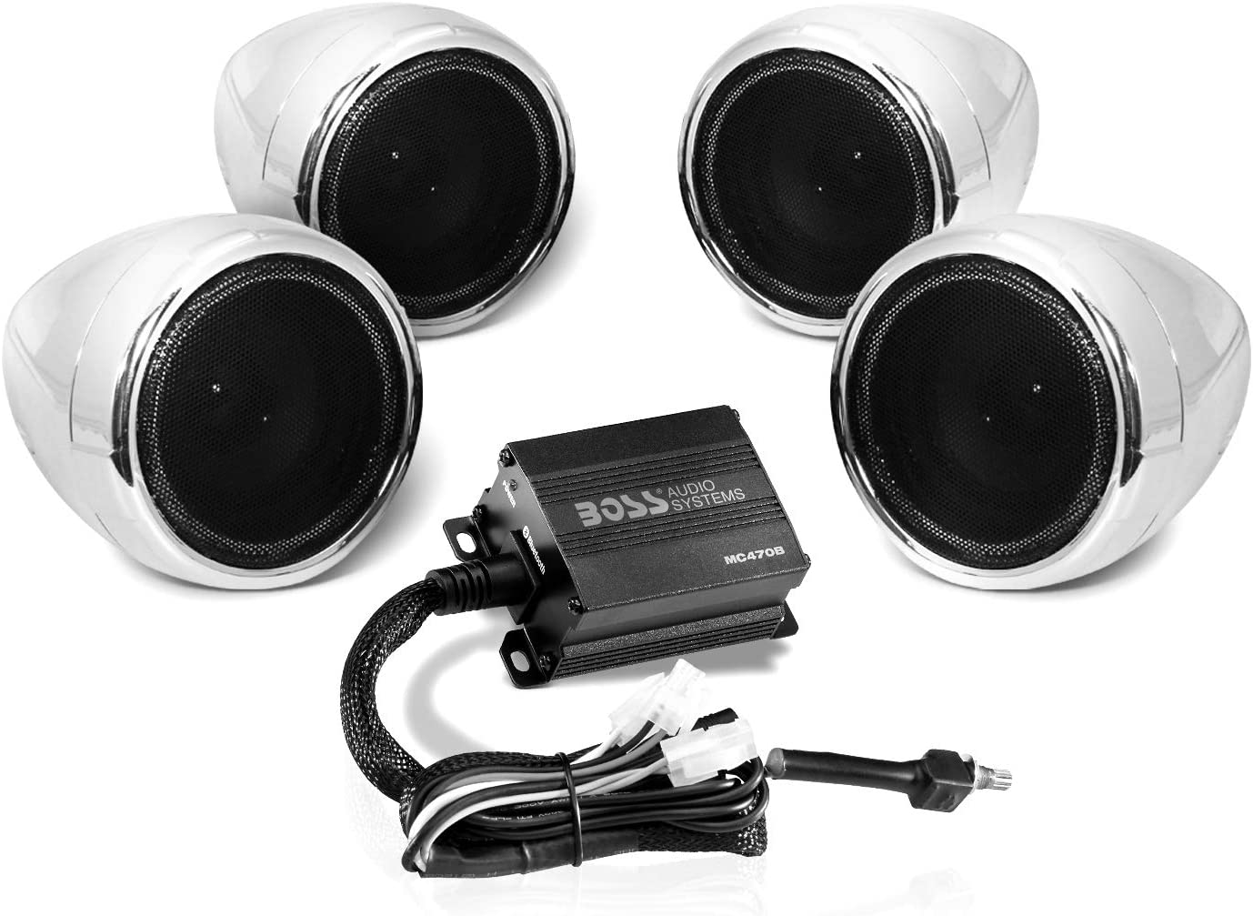 Boss Audio Systems MC10B Motorcycle Bluetooth Speaker System - Class D  Compact Amplifier, 10 Inch Weatherproof Speakers, Volume Control, Great for  Use