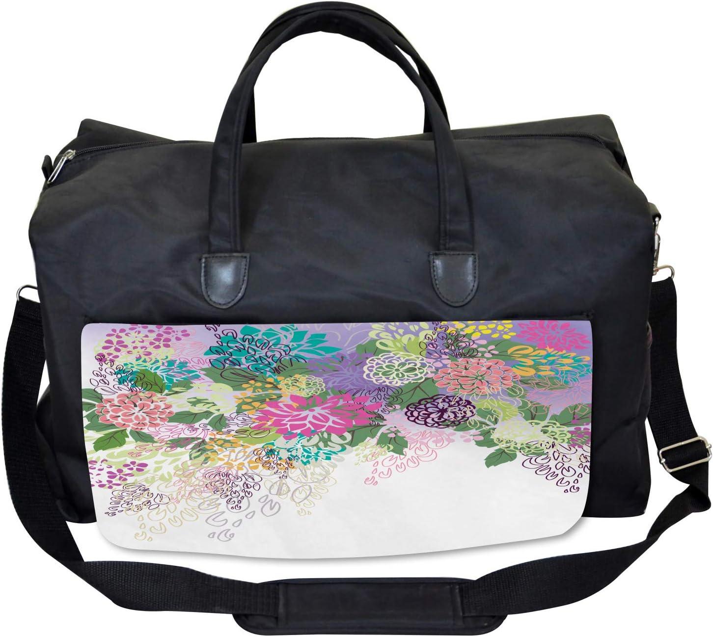 Vintage Boho Inspiration Ambesonne Flower Gym Bag Large Weekender Carry-on
