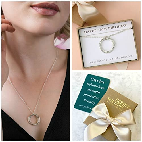 30th Birthday Gift Idea Necklace Best Friend Wife Daughter 3 Rings For Decades