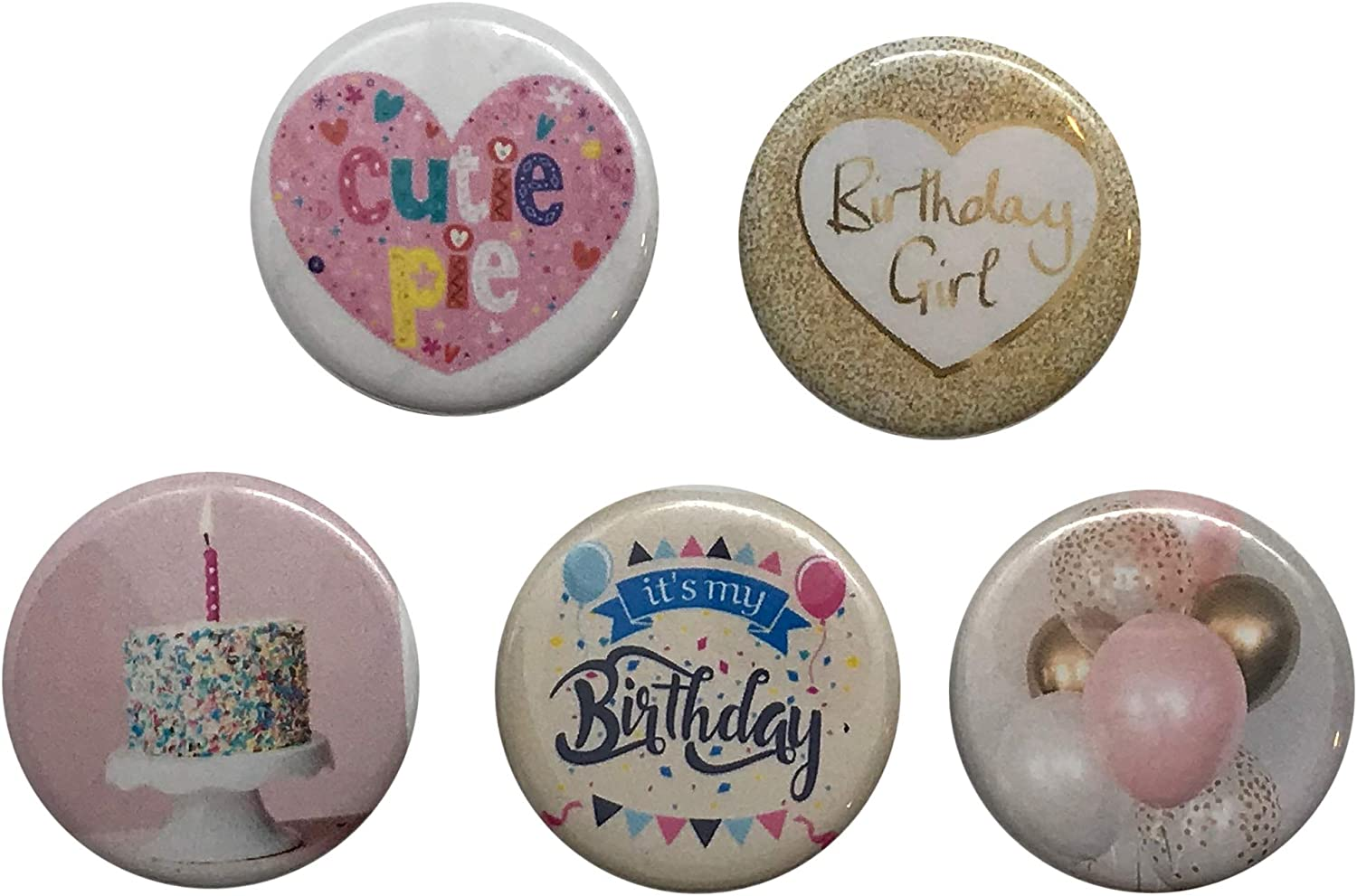 5 piece Happy Birthday Backpack pins buttons 1.25 Inch PinBack Buttons Girls birthday buttons for backpack or clothes Birthday Present for girls backpack pins: Clothing