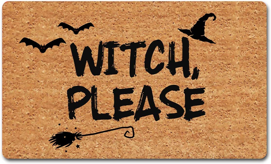 "Funny Welcome Rug Anti-Slip Rubber Doormats Witch Please Funny Halloween Doormat Funny Hello Welcome Rug Personalized Home Decor Rugs Funny Quote Rubber Door Mats30""(L) x 18""(W) For The Entrance Way"