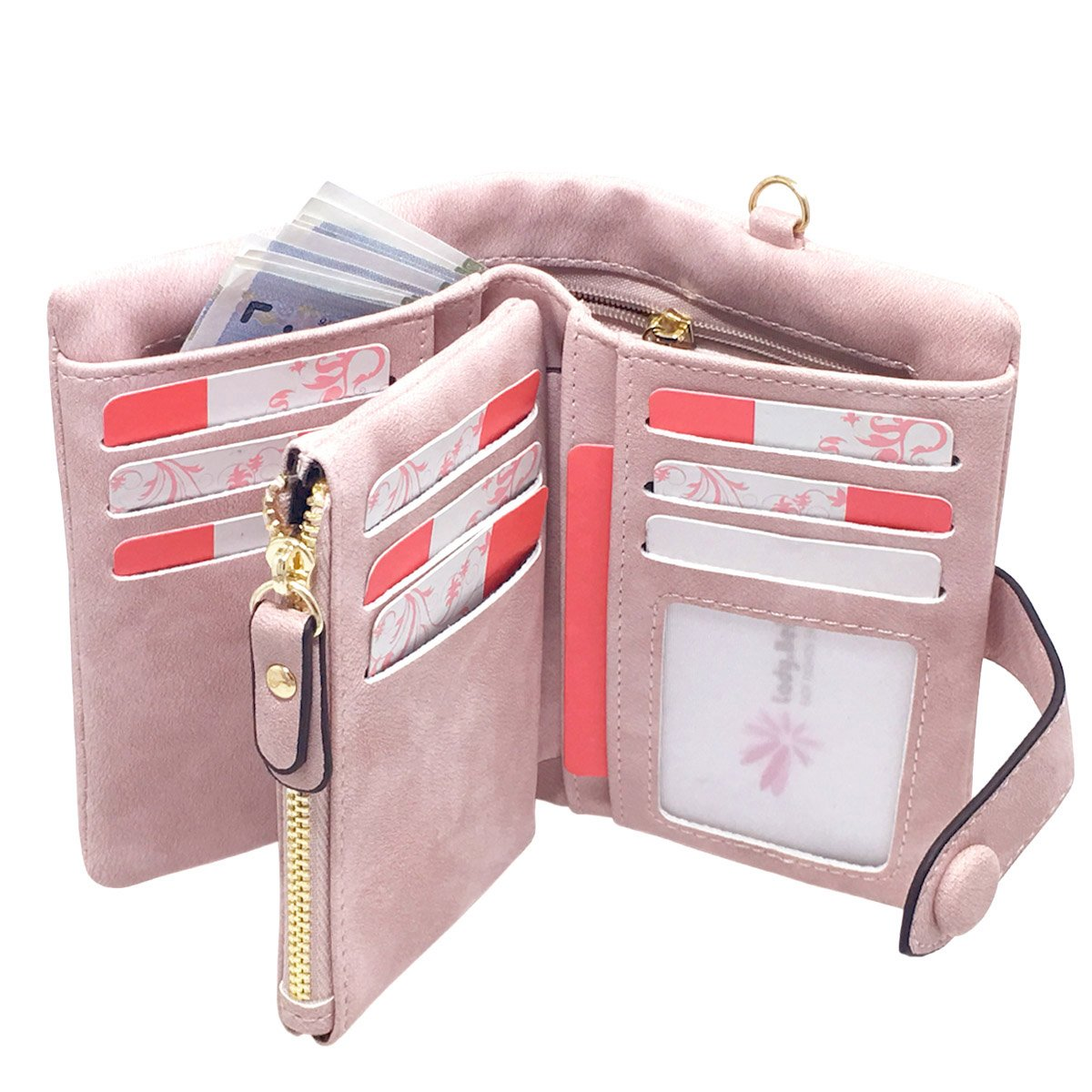 Rfid Leather Wallets for Women Ladies Wristlet Clutch Large Capacity Zipper Purse for Coins Card Holder Organizer(Pink) by YOTOO