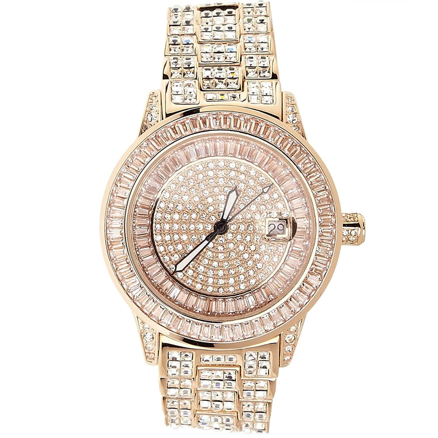 High Quality FULL ICED OUT CZ Uhr - ROYAL rose gold