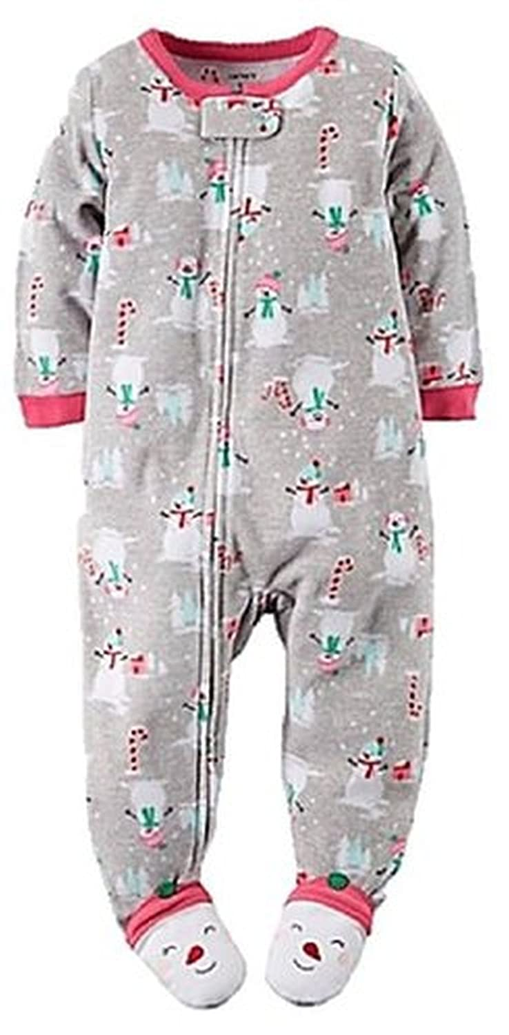 CARTERS Girls 24 Months SNOWMAN CANDY CANES Fleece Footed Pajama Sleeper