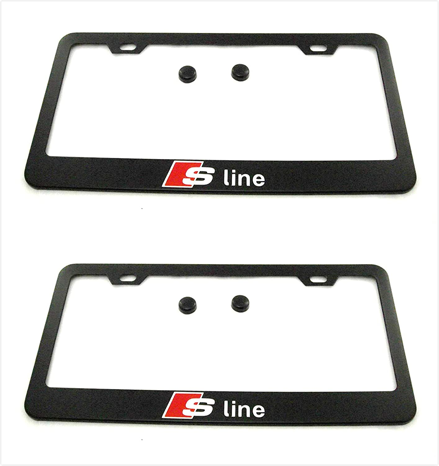 Estodia Black SQ5 Stainless Steel License Plate Frame Cover Holder Metal with Screws Caps for Audi SQ5 Universal 2
