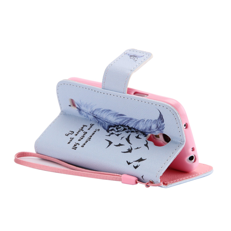 PU Leder Flip-Case {Feather/&Swallows} 4,3 Zoll Anlike H/ülle f/ür Samsung Galaxy S4 Mini