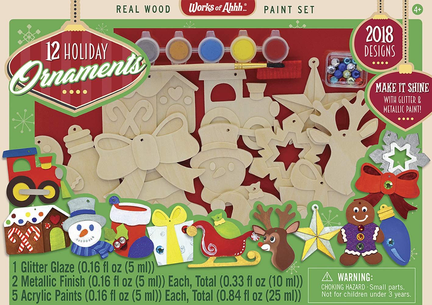 MasterPieces Works of Ahhh 12 Piece Holiday Ornaments Real Wood Paint Kit