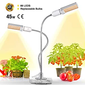 Bozily LED Plant Grow Lights for Indoor Plants 45W Full Spectrum Sunlike Replacement Plant Light with Double Switch - Grow Light 360 Degree Dual Head Flexible Gooseneck
