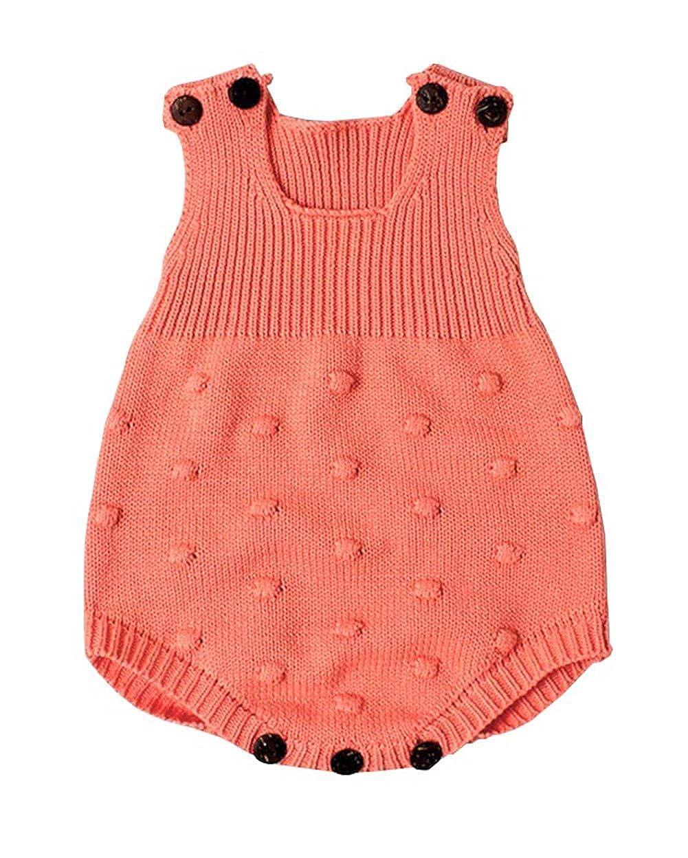 Eiffel Direct Baby Girls Boys Knitted Striped Spot Romper Sleeveless Vest Jumpsuit Bodysuit