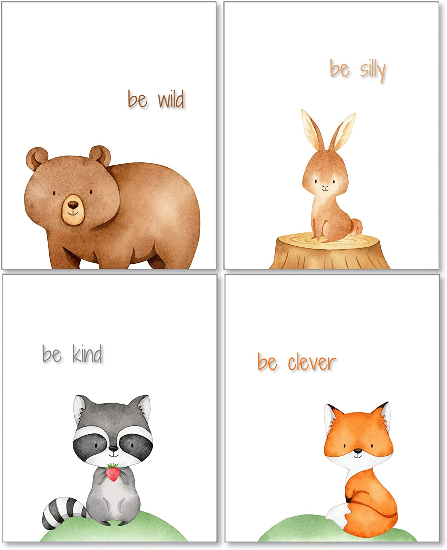 Maxx Graphixx Woodland Animal Creatures Art - Nursery or Kid's Room - Set of 4 (Unframed) Wall Prints 8x10