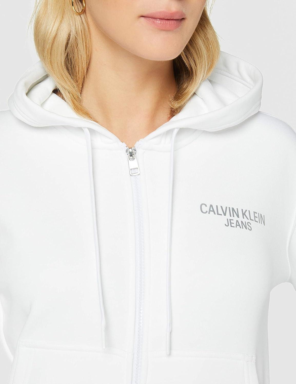Calvin Klein Jeans Damen Instit Back Logo Zip Through Pullover White