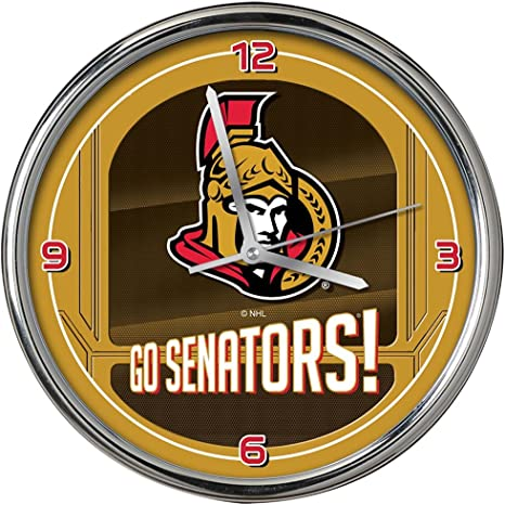 Amazon Com The Memory Company Nhl Ottawa Senators Go Team Chrome Clock One Size Multicolor Sports Outdoors