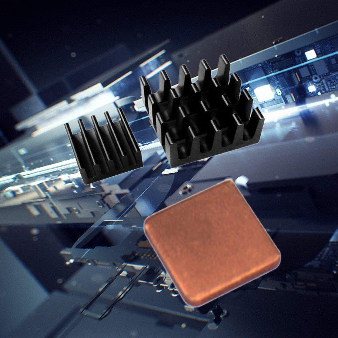 con disipador de Calor de Aluminio de Cobre Puro 3 Piezas de un Conjunto de Bolsas Ziplock PP Multicolor Funnyrunstore Pi 3 2B 3B B