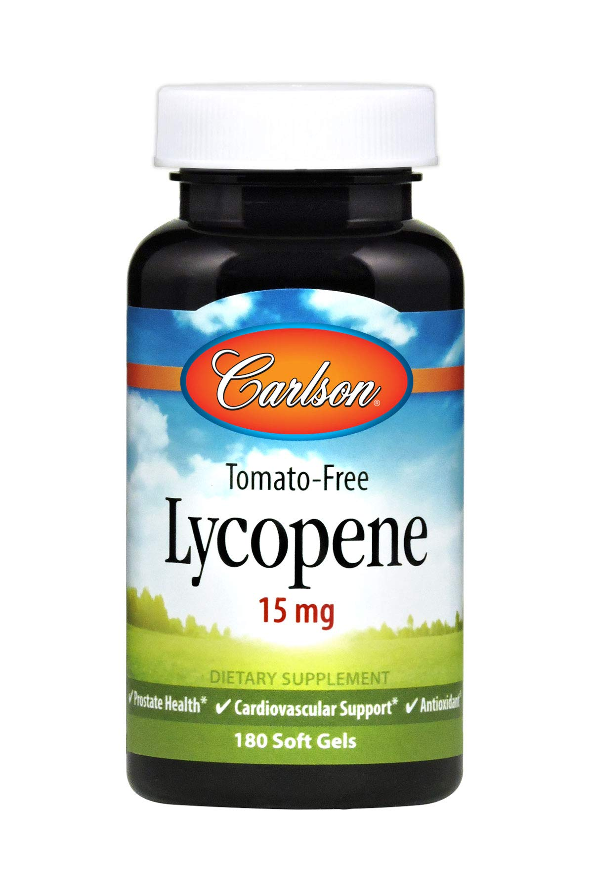 Carlson - Tomato-Free Lycopene, 15 mg, Prostate Health & Cardiovascular Support, Optimal Wellness, 180 Soft gels by Carlson