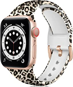 ZAROTO Compatible with Apple Watch Band 40mm 38mm for Women Girls, Soft Cute Fancy Fadeless Floral Pattern Replacement Wristbands for iwatch SE Series 6 5 4 3 2 1, Rose Gold Leopard