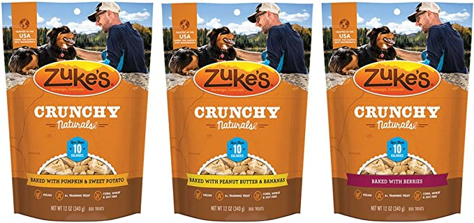 Zuke's Crunchy Natural 10 Baked Dog Treats Variety Pack - 12 Ounce - 3 Flavors - Baked Berries, Peanut Butter & Banana, and Pumpkin & Sweet Potato (3 Pack)