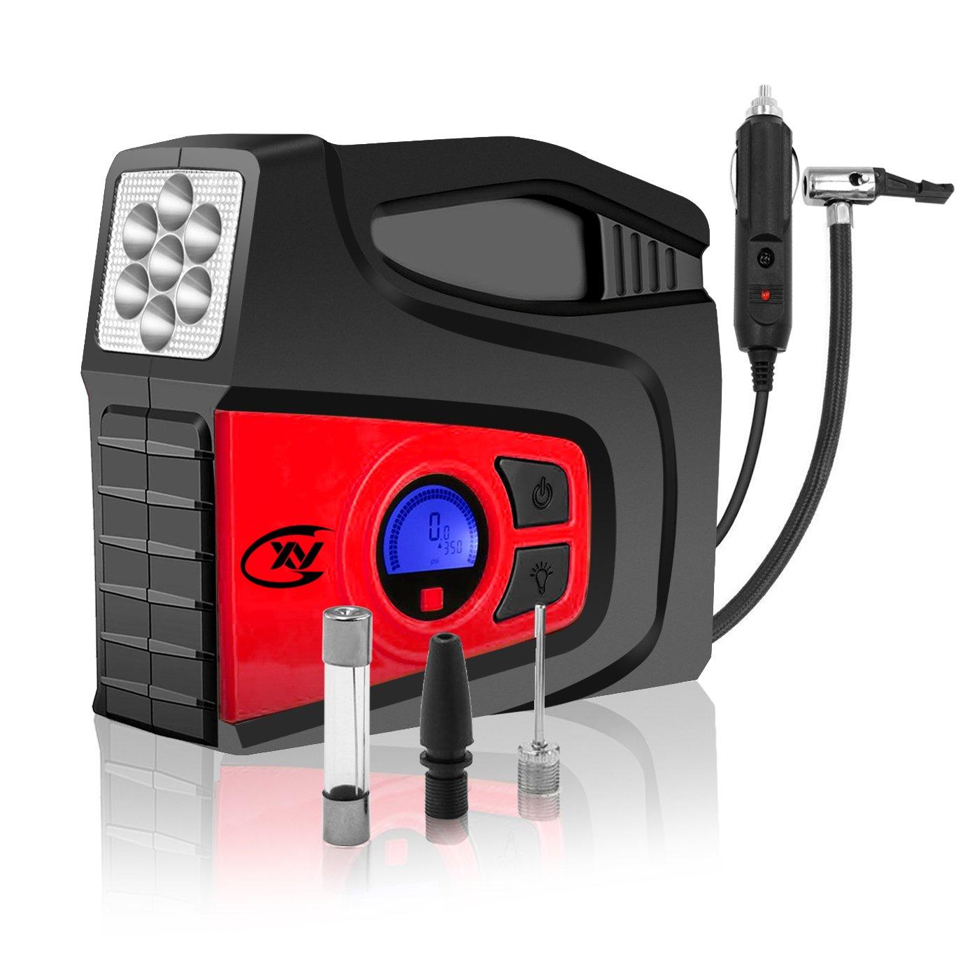 CXY Compresor de aire portátil digital con LED,bomba de compresor de aire portátil, 2 boquillas de aire para vehículo automóvil, motocicleta, ...