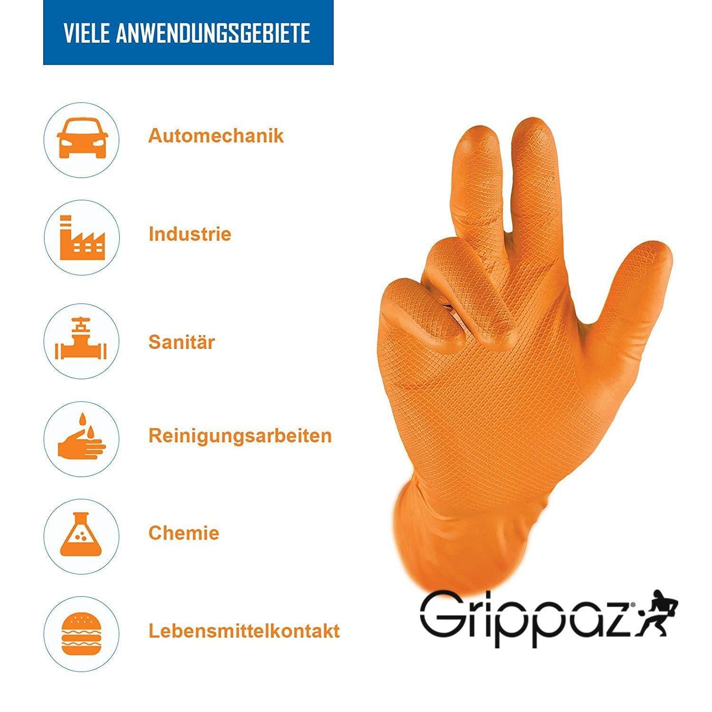 Grippaz Work-Inn Nitril-Handschuhe Orange puderfrei Einweghandschuhe | Gr/ö/ße L latexfreie Arbeitshandschuhe extrem robust /& Rutschfest ohne Puder patentierte Schuppenpr/ägung 50 St/ück