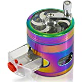 CigaMaTe Herb Grinder Spice Grinder Rainbow Grinder Hand Cranked Clear Top Grinder 2.5 Inch 4 Pieces Herb Grinder with Drawer