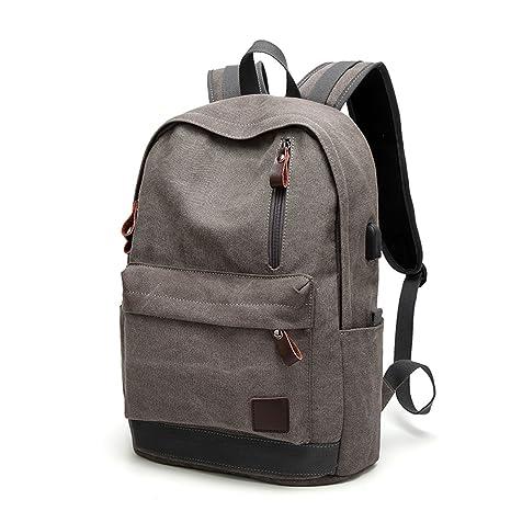 Gracosy Mochila escolar Canvas con puerto de carga USB, mochilas ...